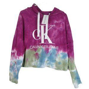 Calvin Klein Womens Cropped Tie Dye Hoodie Logo
